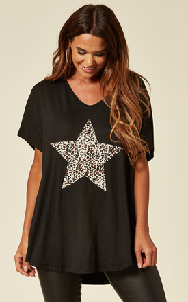 LORNA-Leopard Star Black Oversize Top by Blue Vanilla