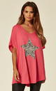 LORNA-Leopard Star Pink Oversize Top by Blue Vanilla