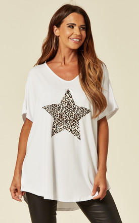 LORNA-Leopard Star White Oversize Top by Blue Vanilla