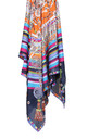 Large Square Silky Regal Tassel Rope Print Scarf in Blue by Urban Mist