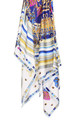 Large Square Silky Regal Tassel Rope Print Scarf in White by Urban Mist