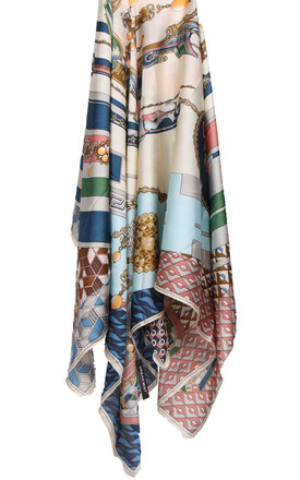 Large Square Silky Mosaic Jewel Chain Print Scarf in Beige by Urban Mist