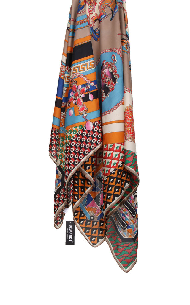 Large Square Silky Mosaic Jewel Chain Print Scarf in Mocha by Urban Mist