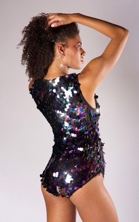 Bladerunner purple sequin bodysuit by winifred rose