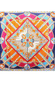 Large Square Silky Compass Vibrant Print Scarf in Orange by Urban Mist