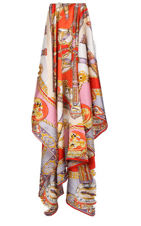 Large Square Silky Compass Vibrant Print Scarf in Orange/Pink by Urban Mist