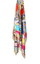 Large Square Silky Compass Vibrant Print Scarf in Multicolour by Urban Mist