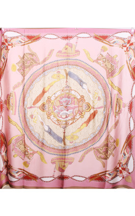 Large Square Silky Inspired Print Scarf In Pink by Urban Mist