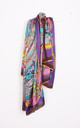 Large Square Silky Inspired Print Scarf In Purple by Urban Mist