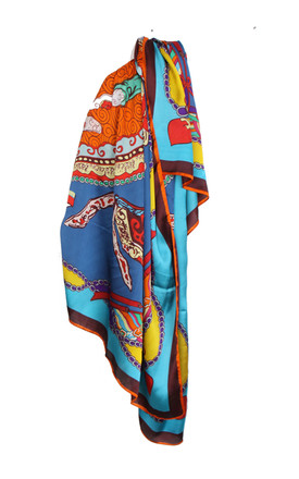 Large Square Silky Inspired Print Scarf In Blue by Urban Mist