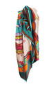 Large Square Silky Inspired Print Scarf In Green by Urban Mist