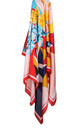 Large Square Silky Geometric and Floral Print Scarf in Red Border by Urban Mist