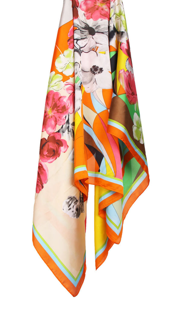 Large Square Silky Geometric and Floral Print Scarf in Orange Border by Urban Mist