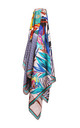 Large Square Silky Floral and Zebra Print Scarf in  Blue by Urban Mist