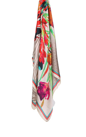 Large Square Silky Floral and Zebra Print Scarf in Nude by Urban Mist