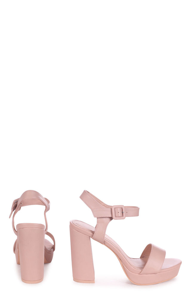 Aretha Platform Barely There Heels in Nude Nappa by Linzi