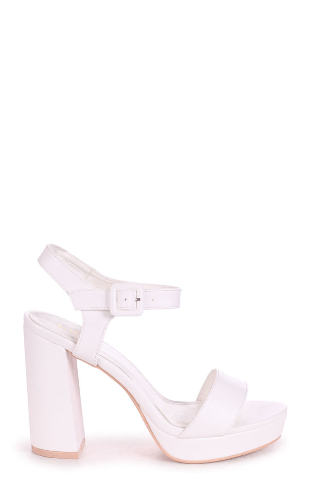 Aretha Platform Barely There Heels in White Nappa by Linzi