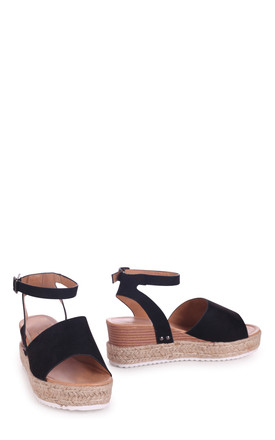Timeless Black Suede Two Part Espadrille Inspired Platform Wedge by Linzi