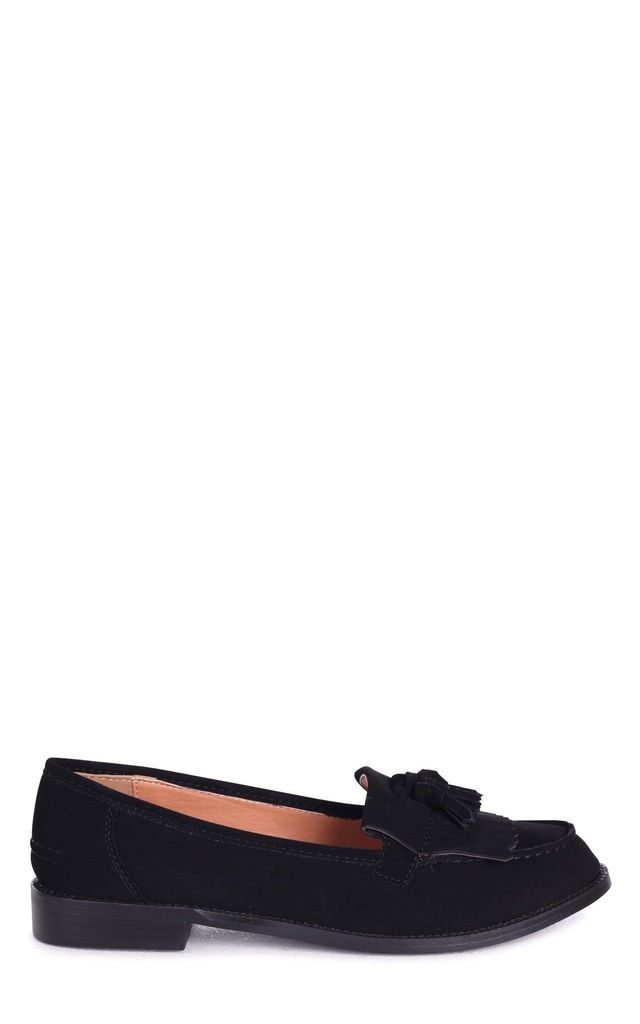 Rosemary Black Nubuck And Suede Classic Slip On Loafer by Linzi
