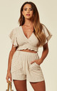 Cropped Top and Shorts Co-ordinate in Beige by Lucy Sparks