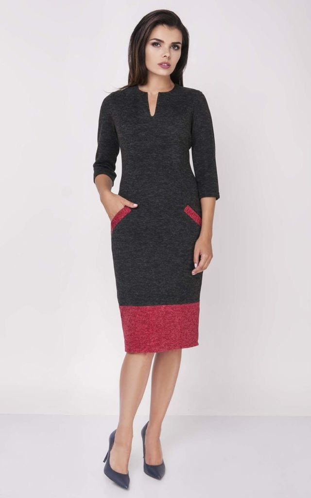 3/4 Sleeve Midi Dress with Pockets in Black/Red by Bergamo