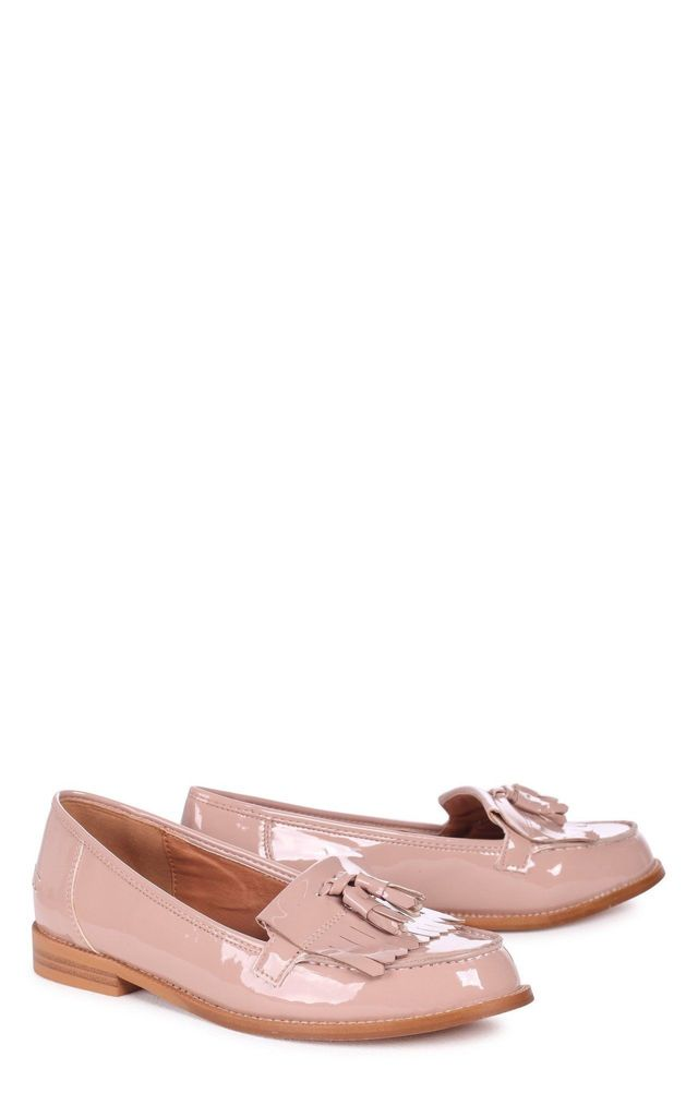 Rosemary Mocha Patent Classic Slip On Loafer by Linzi