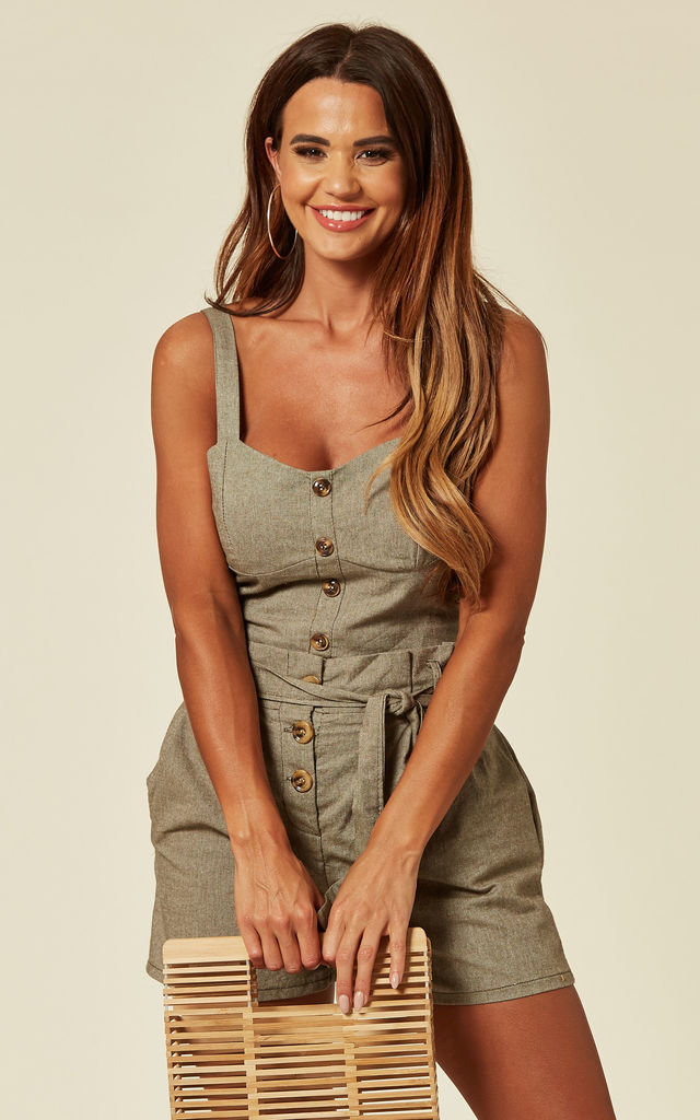Bust Cropped Top And Shorts Co Ordinate In Green by Lucy Sparks