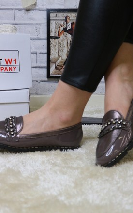 Grey patent beaded loafer by Bond Street Shoe Company