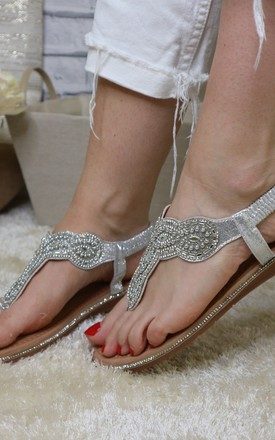 Silver diamante bead sandals by Bond Street Shoe Company