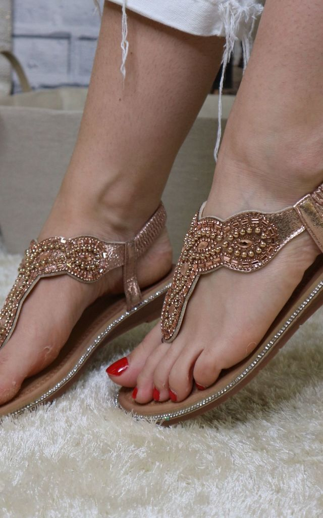 Champagne diamante beaded sandals by Bond Street Shoe Company