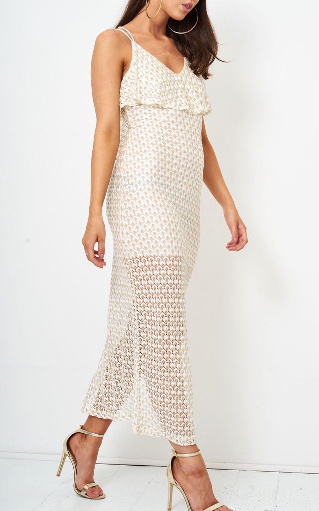 Jaela Gold Metallic Crochet Knit Maxi Dress by Frontrow Limited