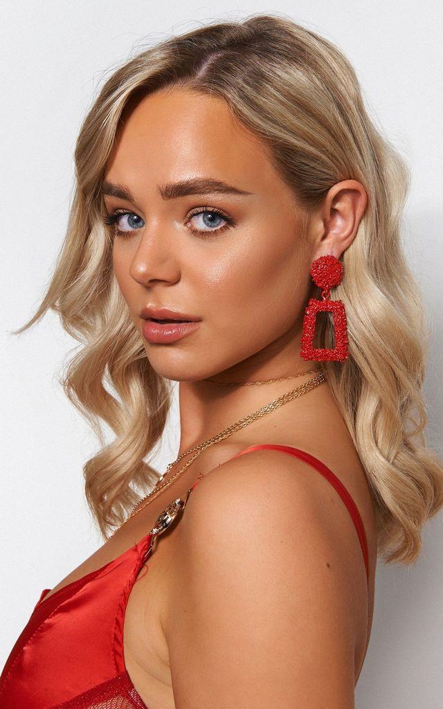 GEO RED STATEMENT EARRINGS by The Fashion Bible