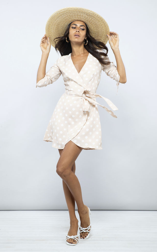TRIXIE MINI DRESS IN NUDE DOTTY image