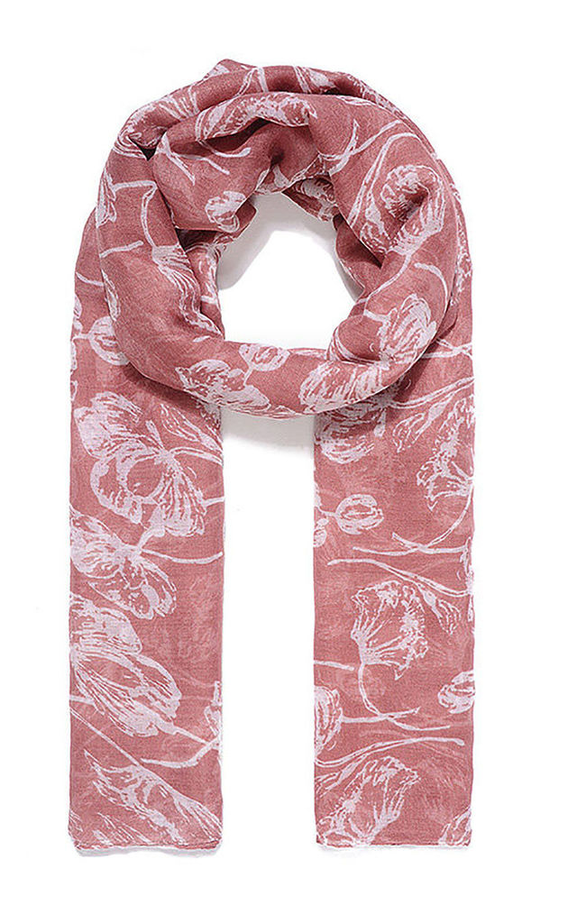 Vintage Floral Print Scarf in Blush Pink by Xander Kostroma