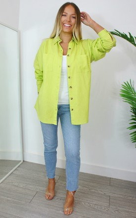 Mollie Lime Cotton Oversized Shirt by Your Wardrobe Product photo