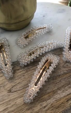 Crystal clear Queenie hair clip pair by It's Me Not You