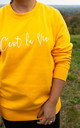 C'est La Vie Slogan Long Sleeve Sweatshirt in Mustard by Peggy and Sam