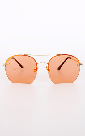 Gold Metal Frame Double Bridge Flat Bottom Sunglasses In Rust by Urban Mist
