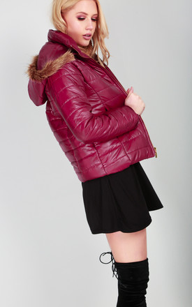 Red Faux Fur Hooded High Shine Quilted Coat by Oops Fashion
