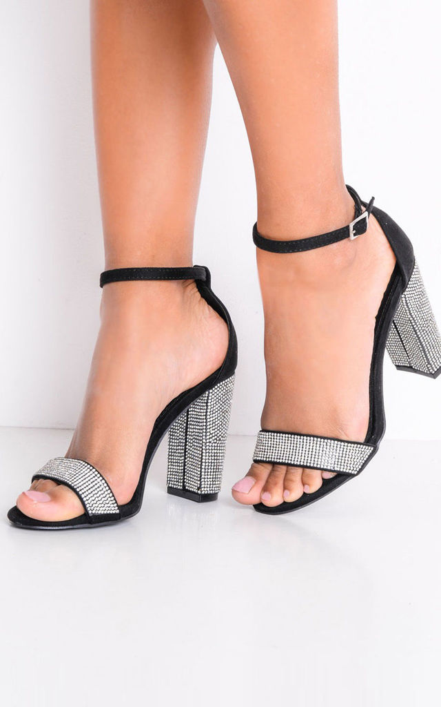 Diamante embellished faux suede strappy block heeled sandals black by LILY LULU FASHION
