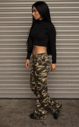 Green Camouflage Wide Leg Cargo Pants by Glamour Outfitters