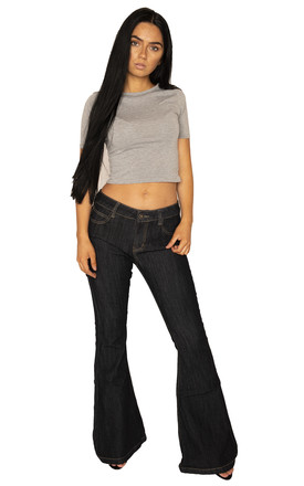 Dark Blue Wide Flared Jeans by Glamour Outfitters