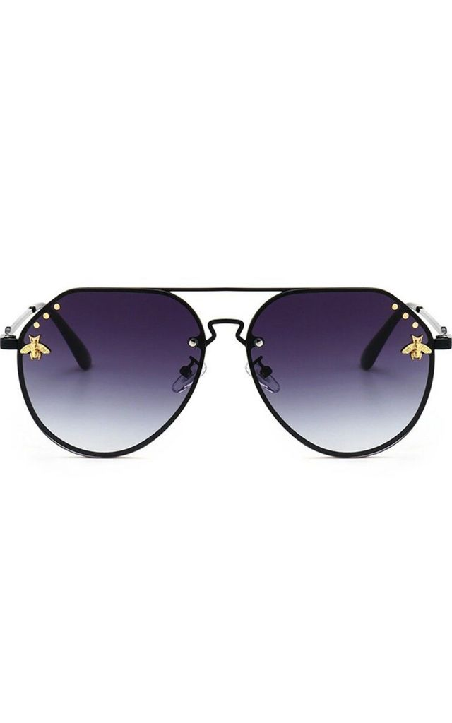 Luxury Bee Character Aviator Sunglasses In Black by Urban Mist