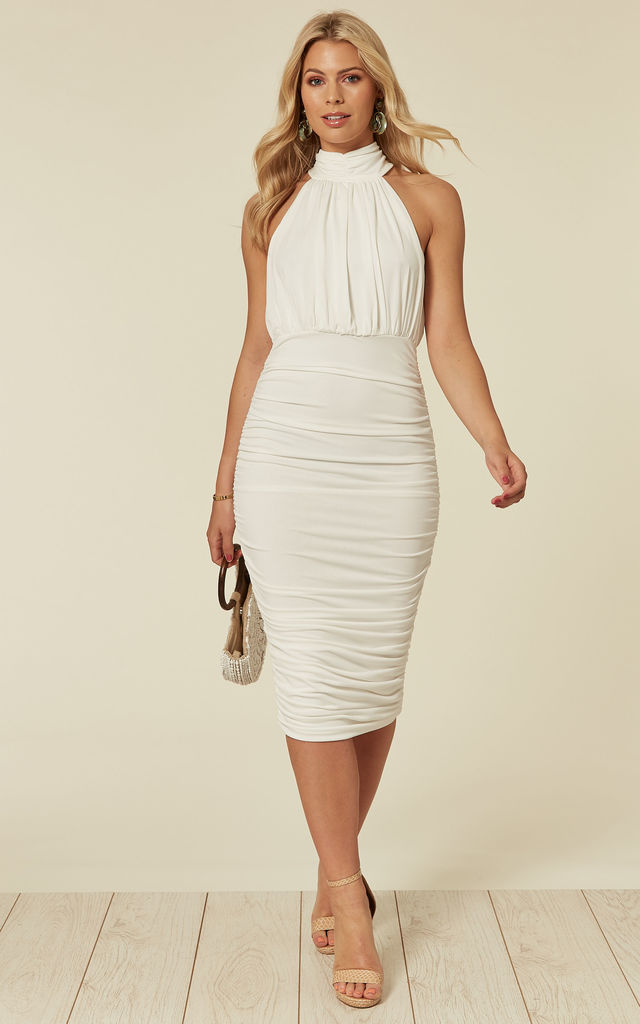 Cream High Neck Ruched Dress by AX Paris