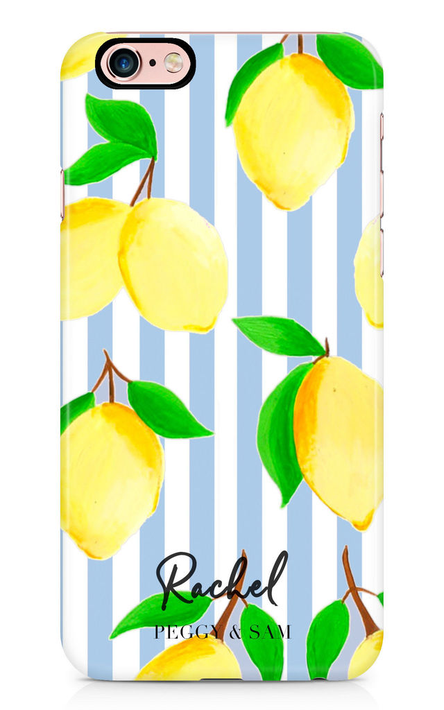 Personalised Phone Case in Blue Stripe Lemon Print by Peggy and Sam