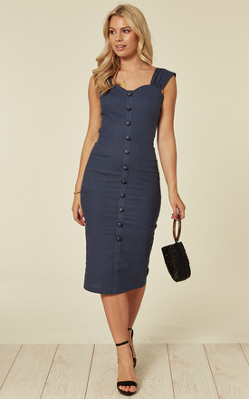 Marlene Button Detail Navy Linen Midi Dress by Collectif Clothing