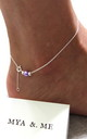 """Mya"" Anklet in Purple 925 sterling silver by Mya &. Me"