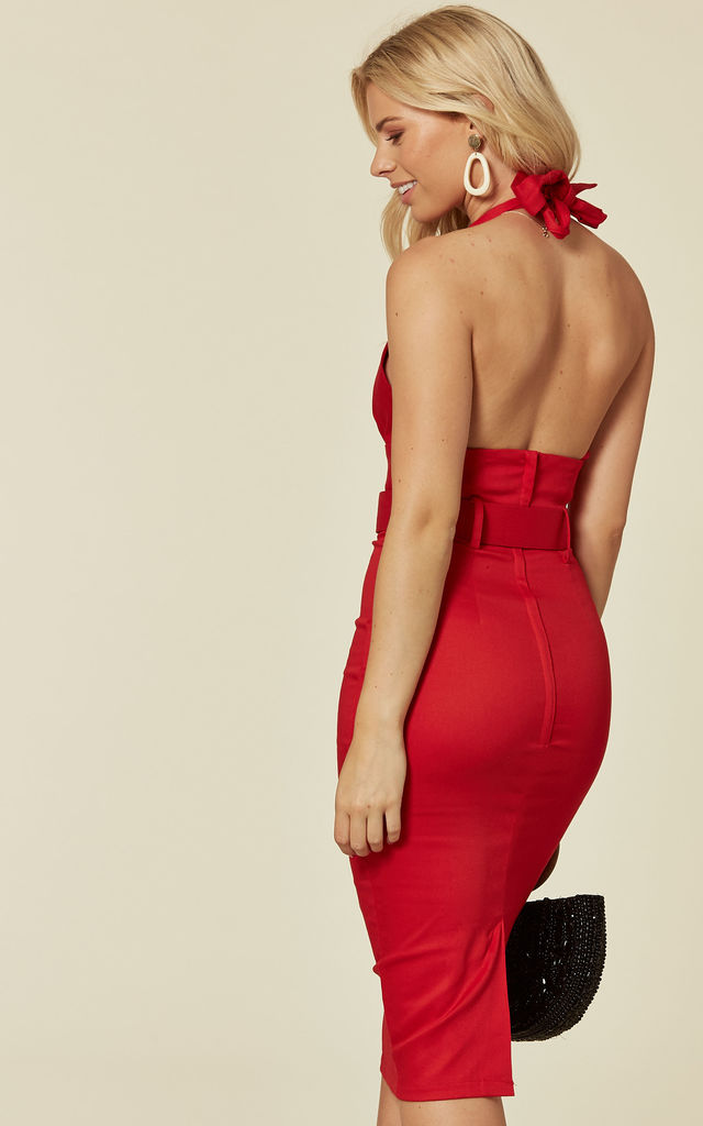 Ramona Red Halterneck Low Cut Midi Pencil Dress by Collectif Clothing