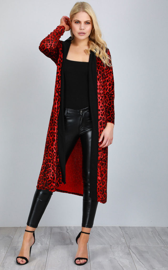 Red Long Sleeve Leopard Print Faux Velvet Jacket by Oops Fashion