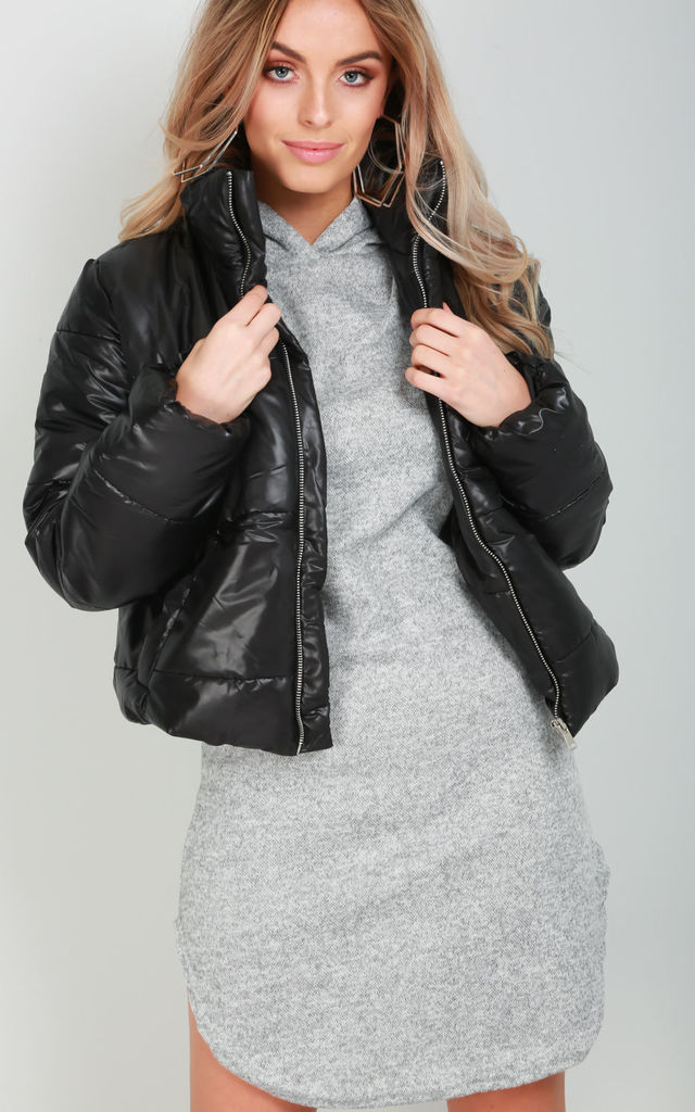 Black Cropped Quilted Puffer Jacket by Oops Fashion